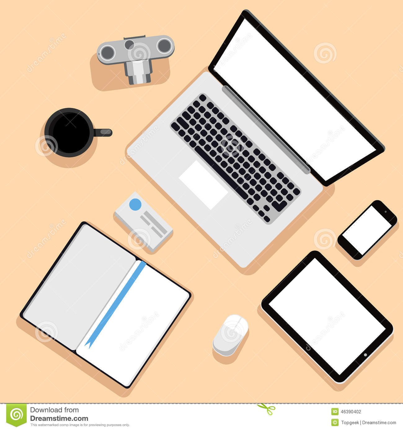 Top View Of Workplace With Laptop And Devices Stock Vector