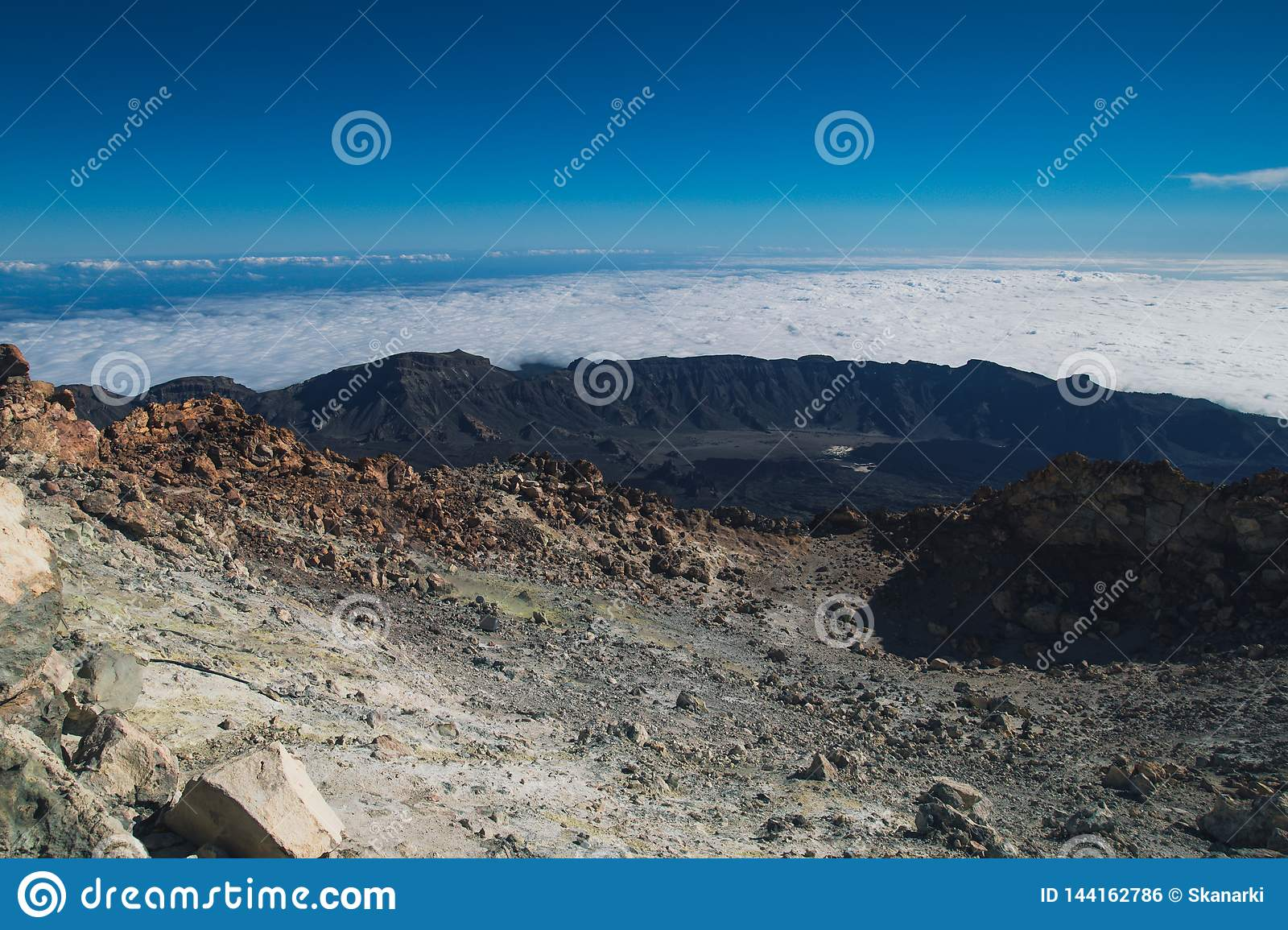 On top of a volcano. Teide. Volcano on Tenerife. Spain. The mountains.