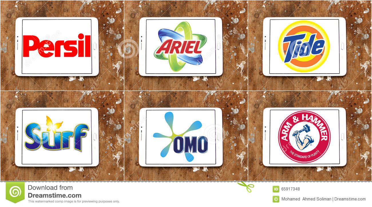 Top Washing Powder Or Laundry Detergent Brands Editorial Stock Photo