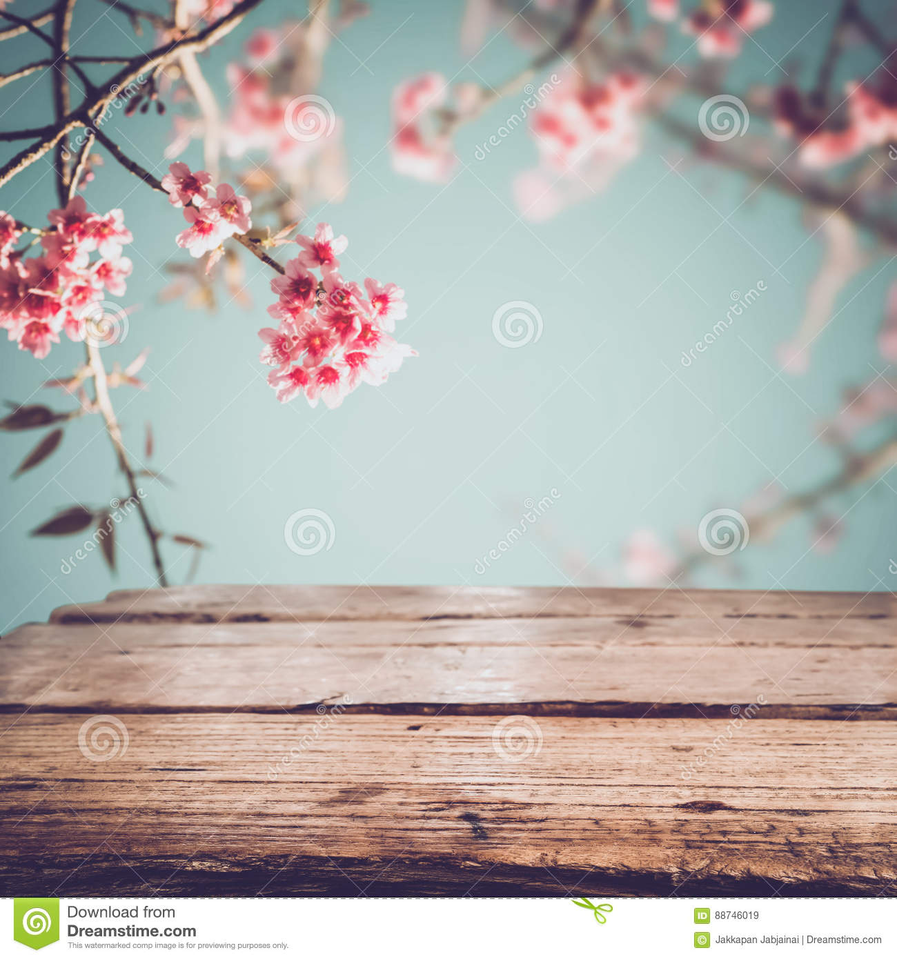 Wood Table Top On Blurred Beach Background Vintage Tone: Top Of Wood Table With Pink Cherry Blossom Flower Sakura
