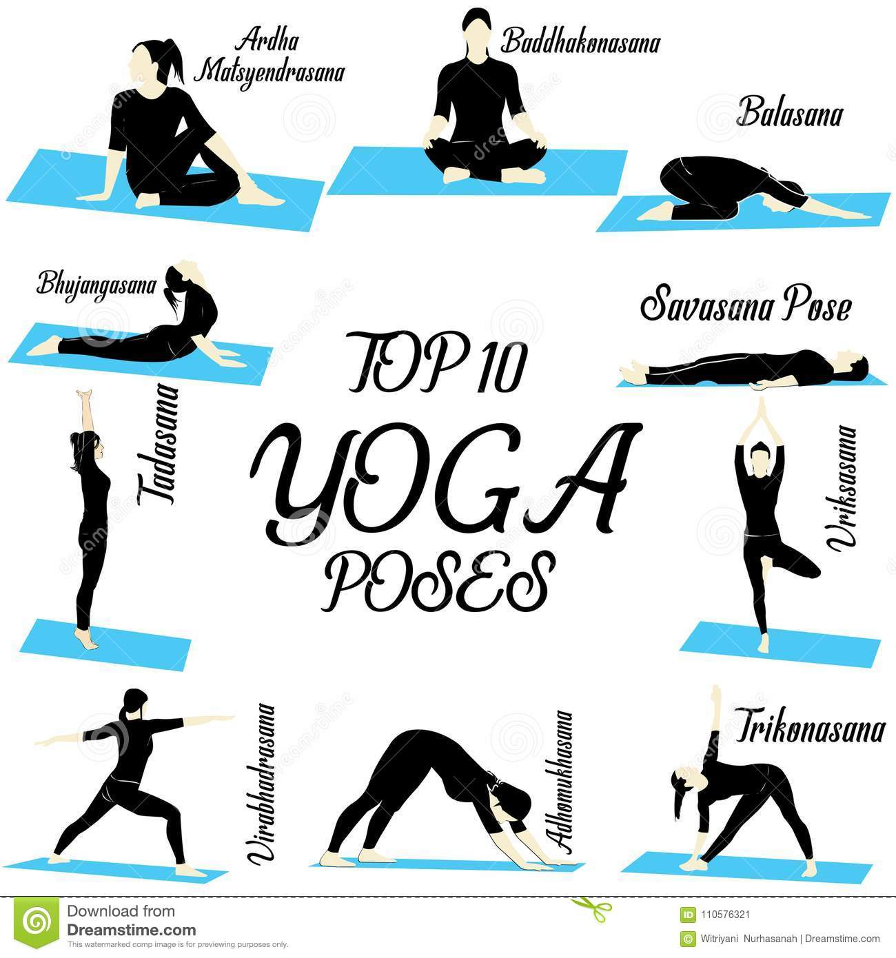 Top 10 Yoga Illustration Poses For Beginner Stock Vector Illustration Of Asanas Lifestyle 110576321