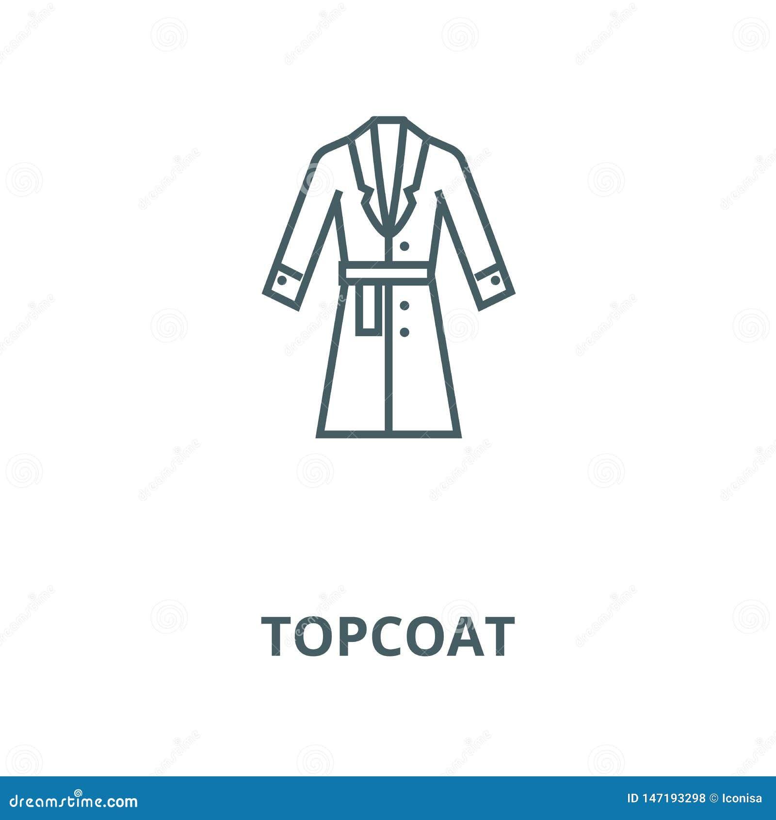 Topcoat, διανυσματικό εικονίδιο γραμμών χειμερινών παλτών, γραμμική έννοια, σημάδι περιλήψεων, σύμβολο
