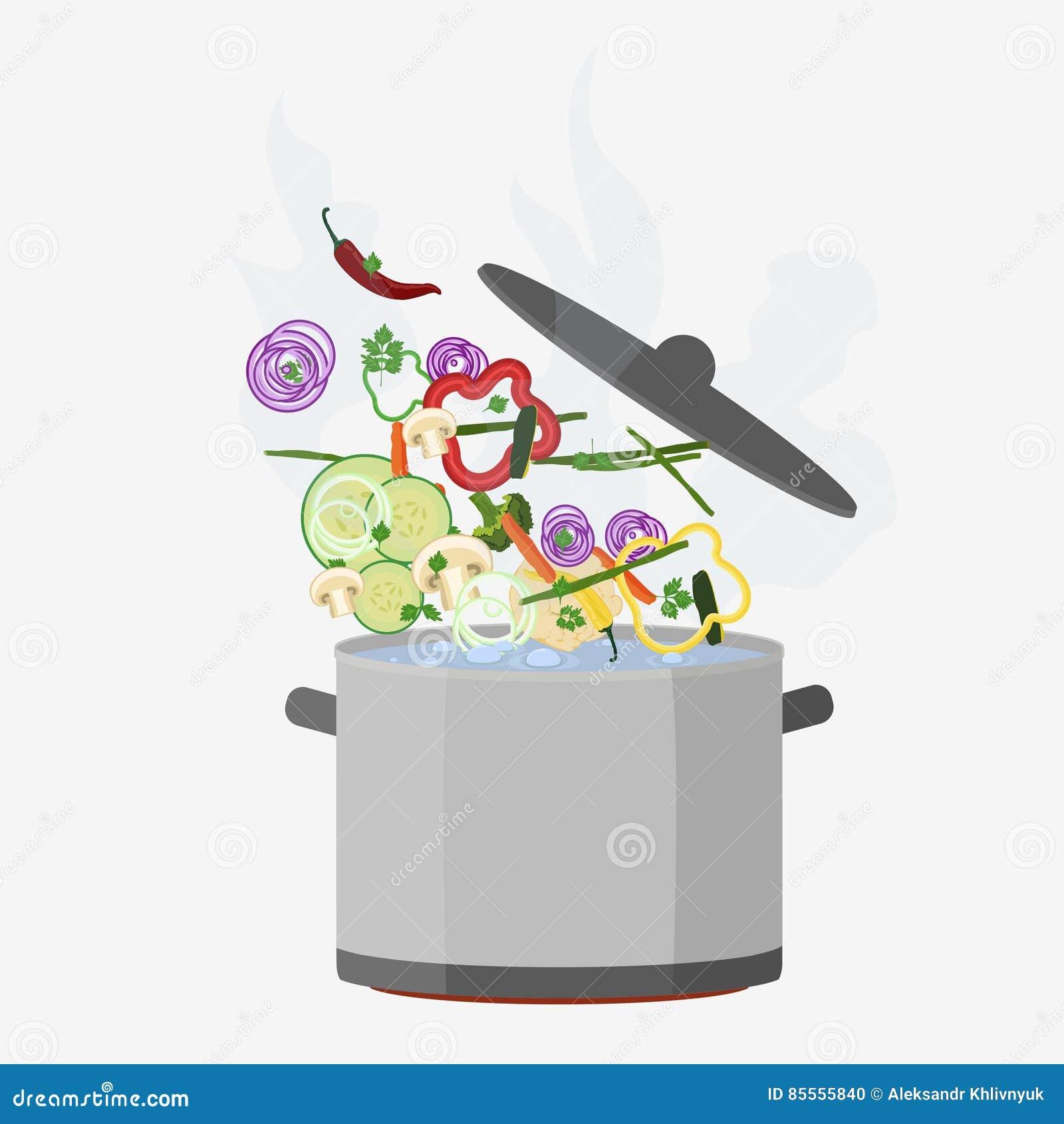 Topf kochend, öffnen Sie sich