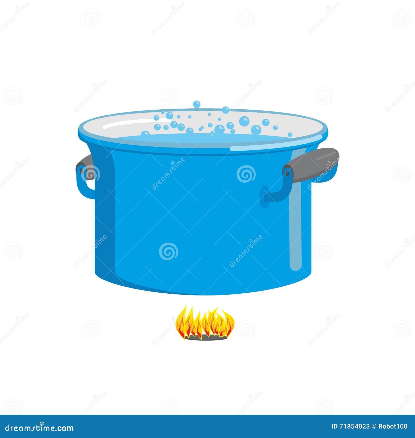 topf kochendes wasser auf feuer kochen des lebensmittels blaues kochgeschirr vektor abbildung. Black Bedroom Furniture Sets. Home Design Ideas