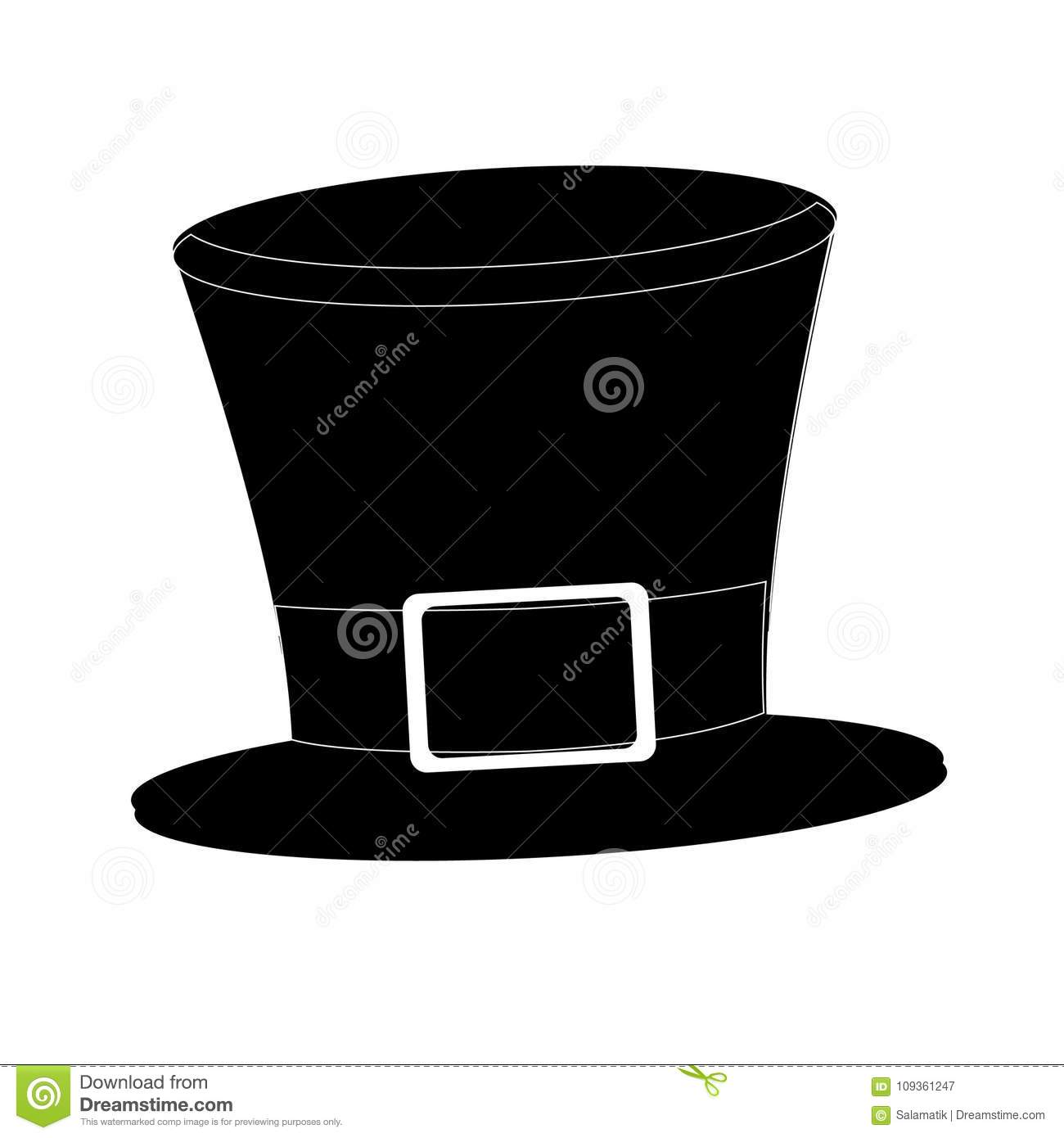 Tophat. Isolated on white background. Black silhouette cylinder. Vintage top hat. Vector.
