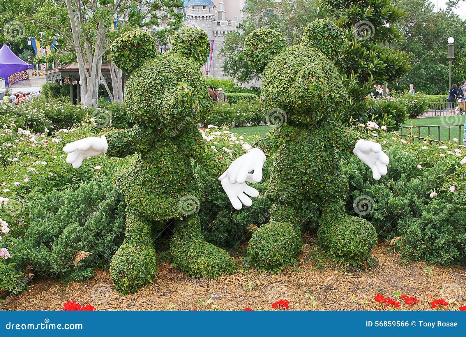 Topiaries Do Mickey E Do Minnie De Disney Foto Editorial Imagem De Minnie Mickey 56859566