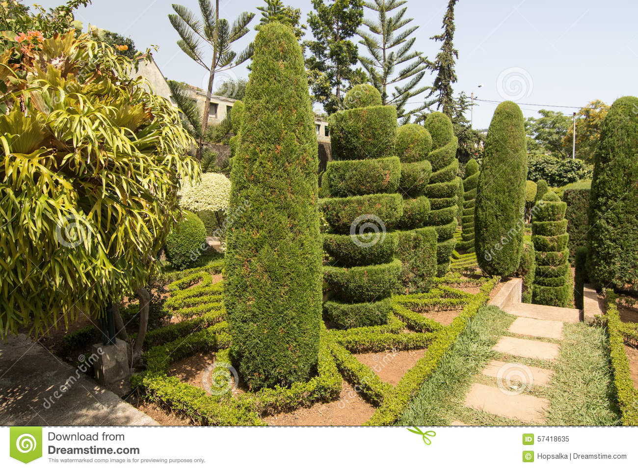 Topiary in botanical garden of funchal madeira island for Botanical garden timing