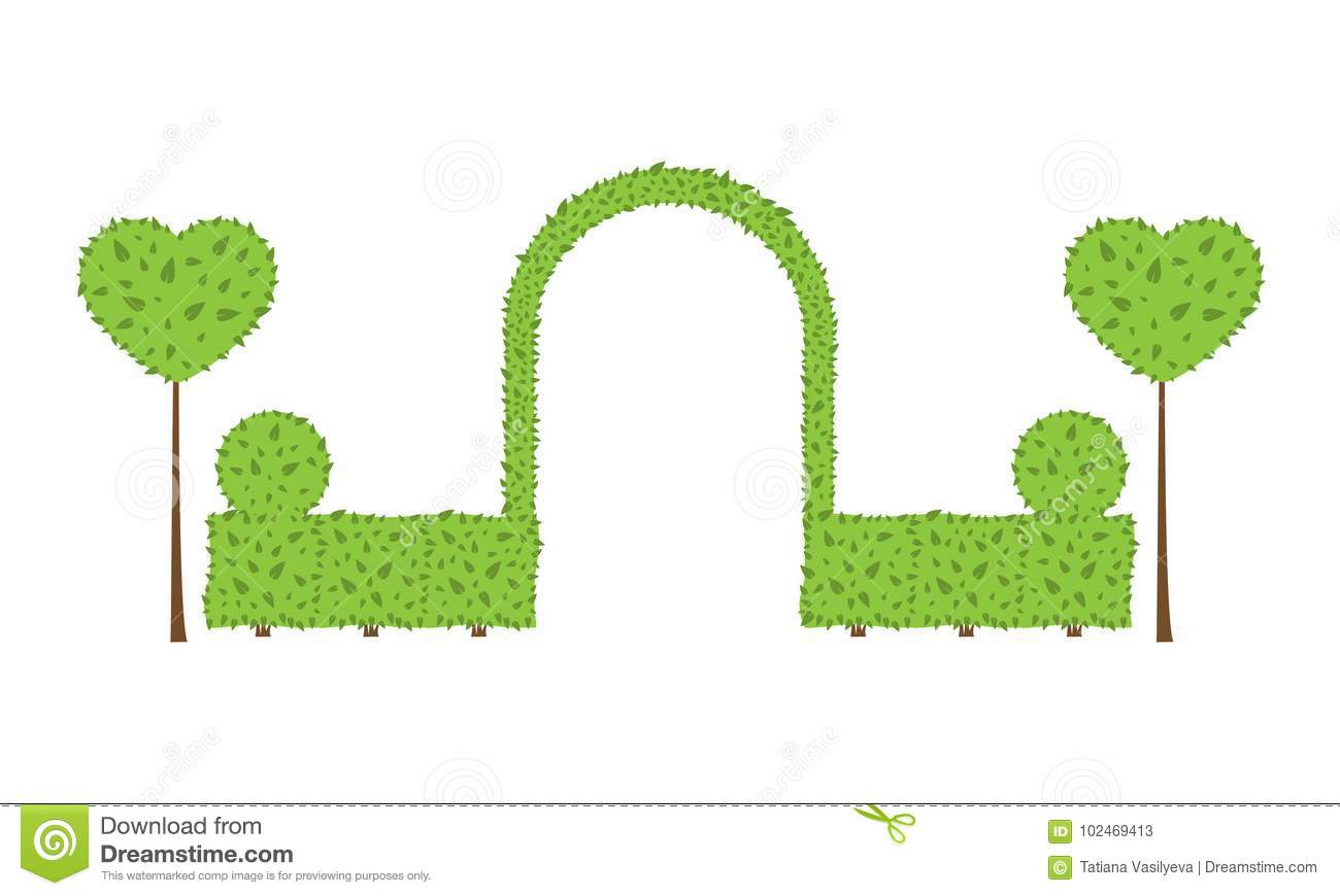 Topiary Wedding Arch Stock Vector Illustration Of Heart 102469413