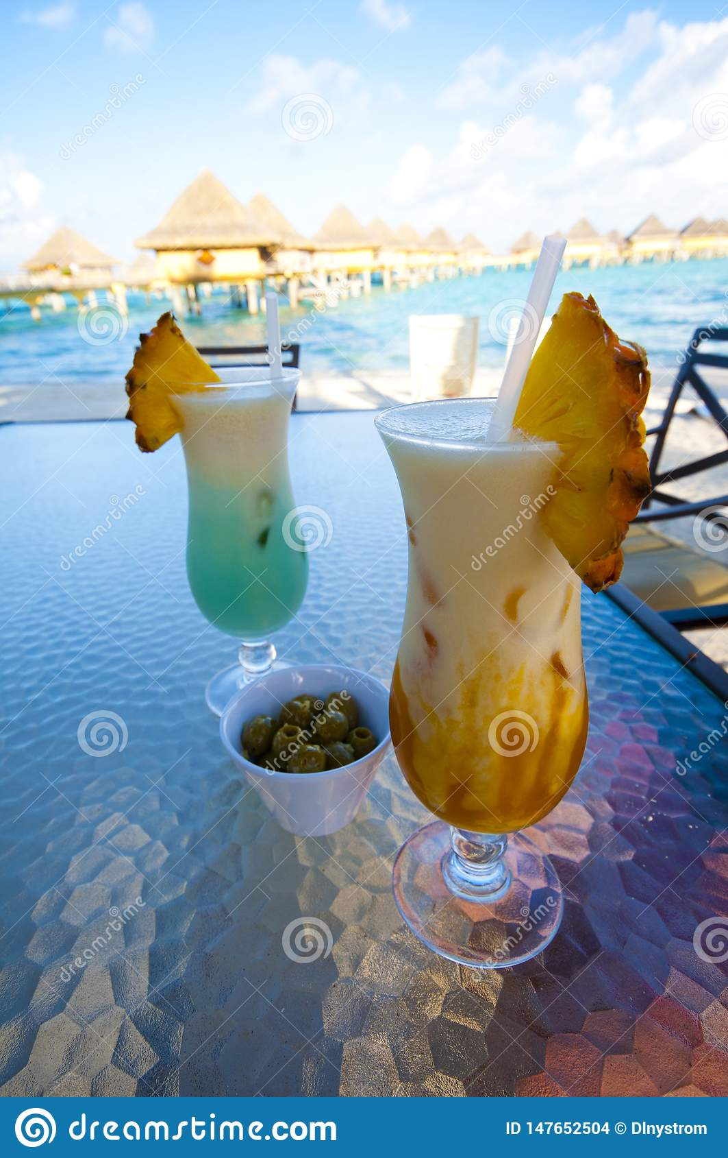 Topical Drinks along Beach in Bora Bora