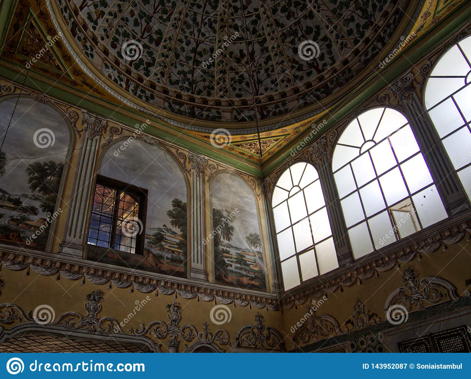 Topkapi palace detail ceiling and windows
