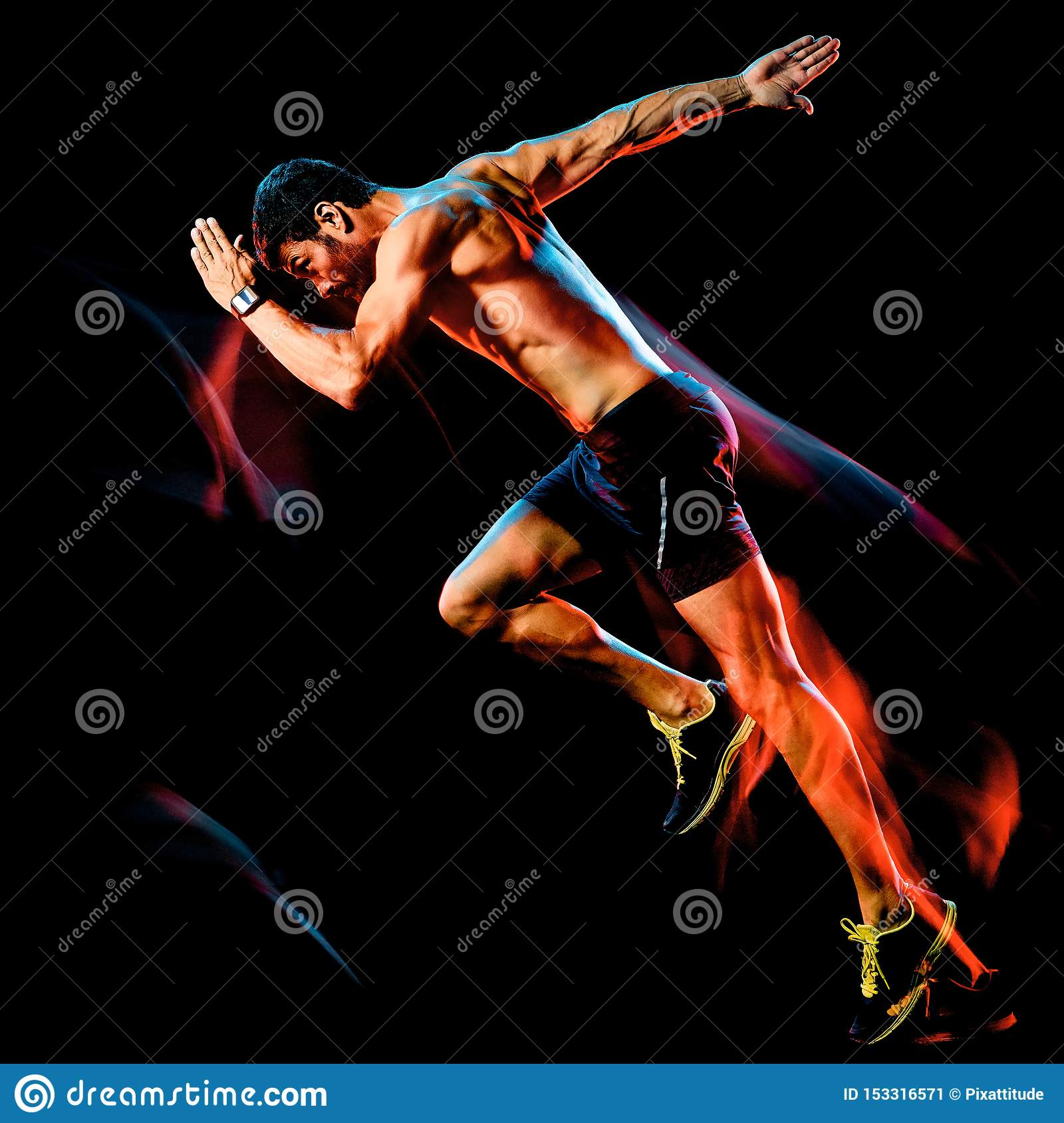 Topless muscular man runner. running jogger jogging isolated black background