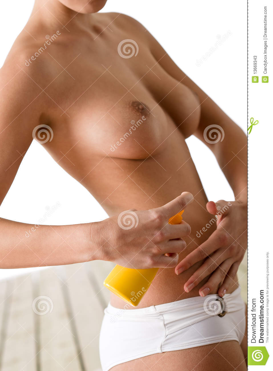 Using lotion women sexy