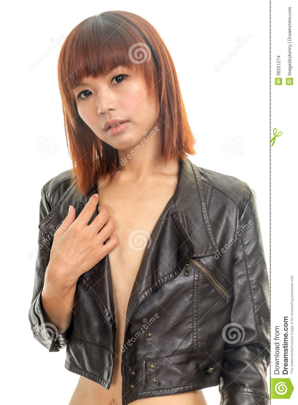 Sexy leather jacket for woman