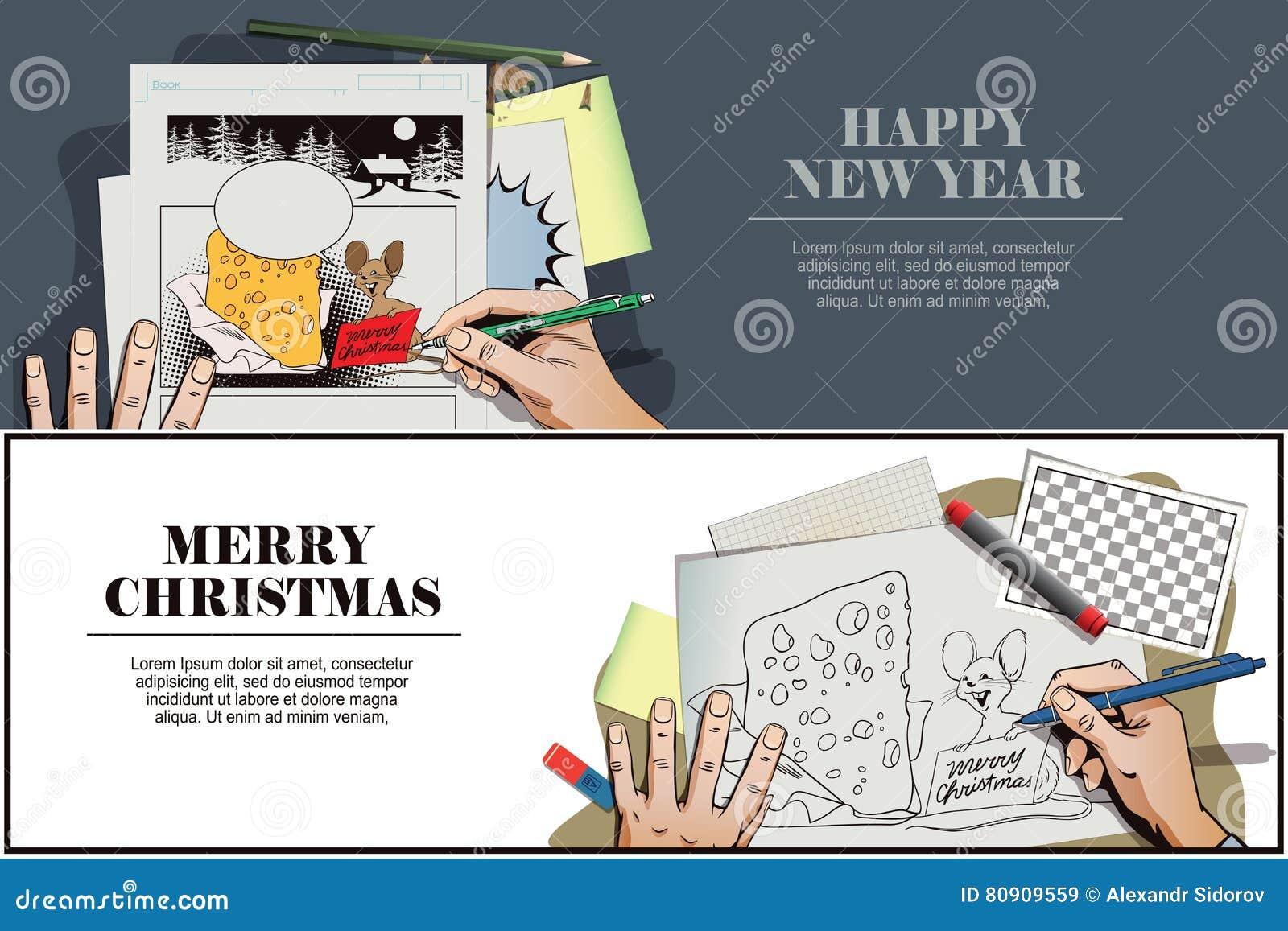 Topo con un pezzo enorme di formaggio per il Natale La mano dipinge il pic