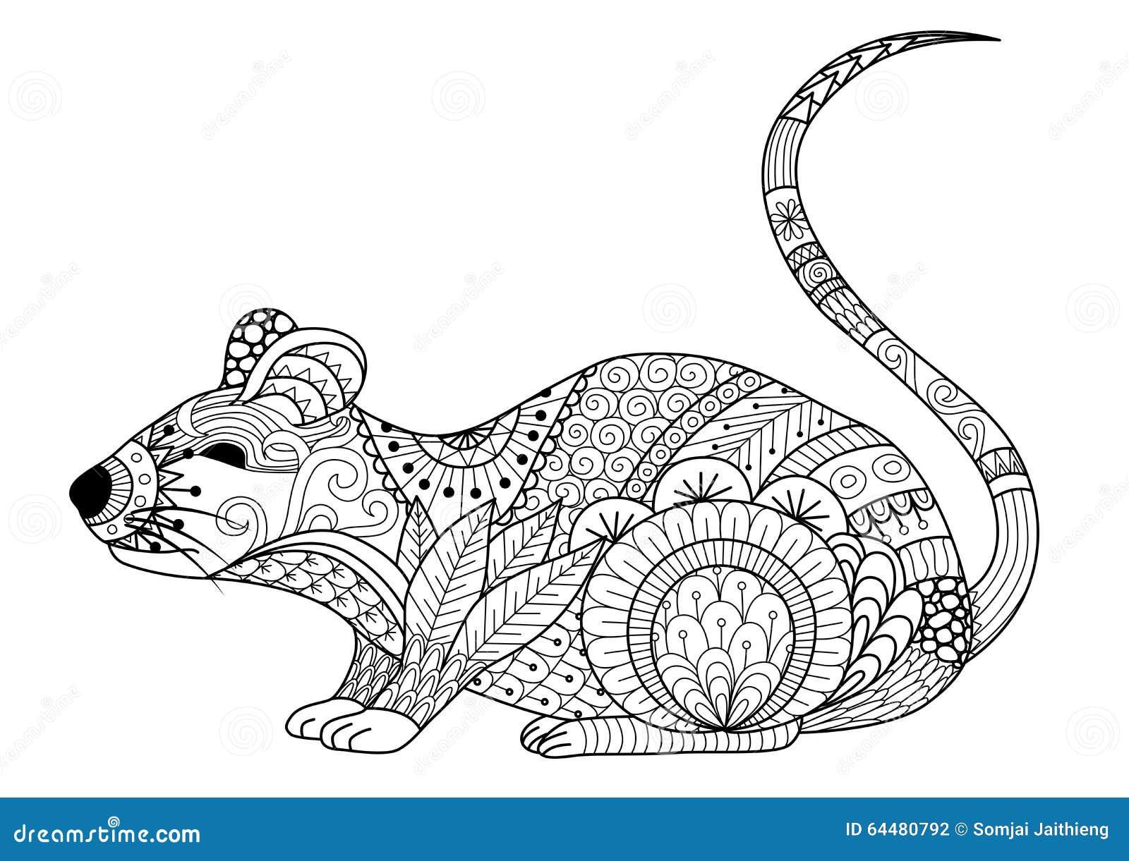 Topo Disegnato A Mano Dello Zentangle Per Il Libro Da
