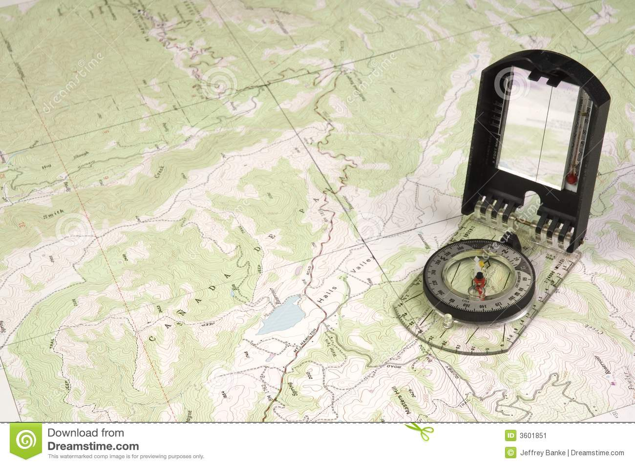 Topo Map And Compass Stock Image Image Of Isogonic