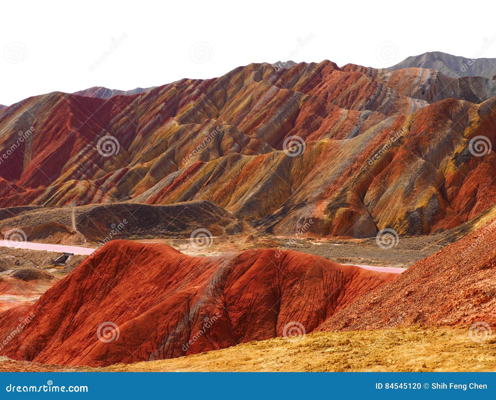 Topografía colorida de Danxia, Zhangye, Gansu, China