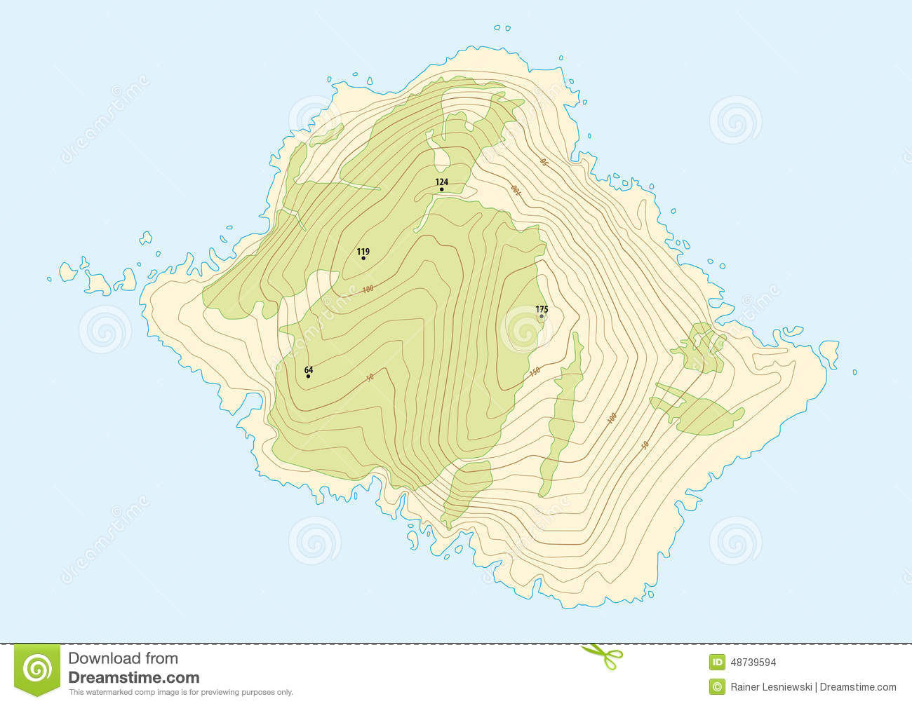 Topographic Map Of A Fictional Island Stock Vector Illustration Of