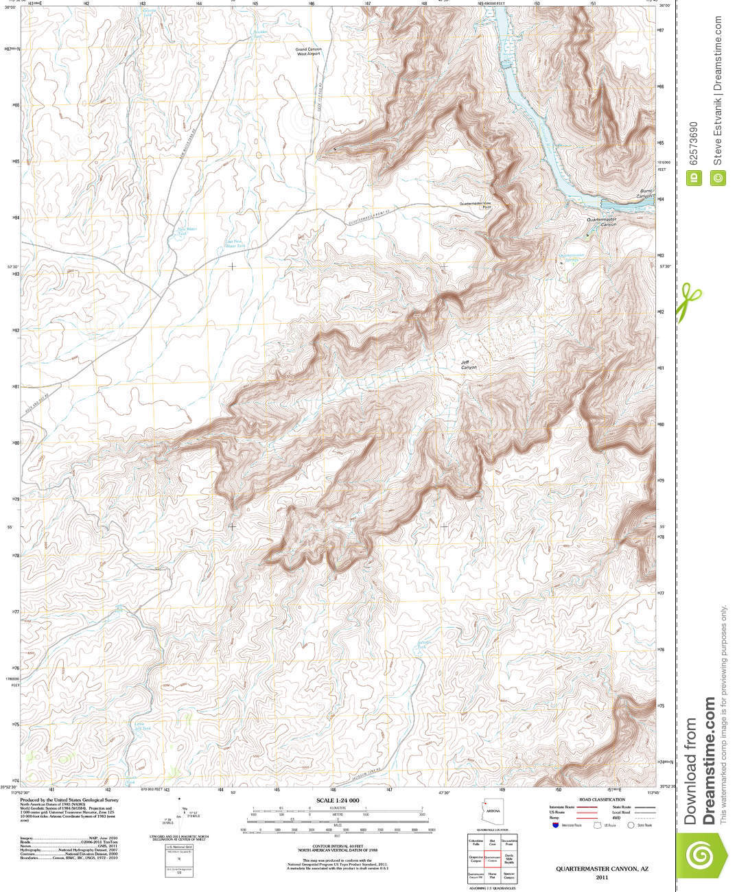 Topographic Map Grand Canyon.Topographic Map Of The Grand Canyon Stock Illustration