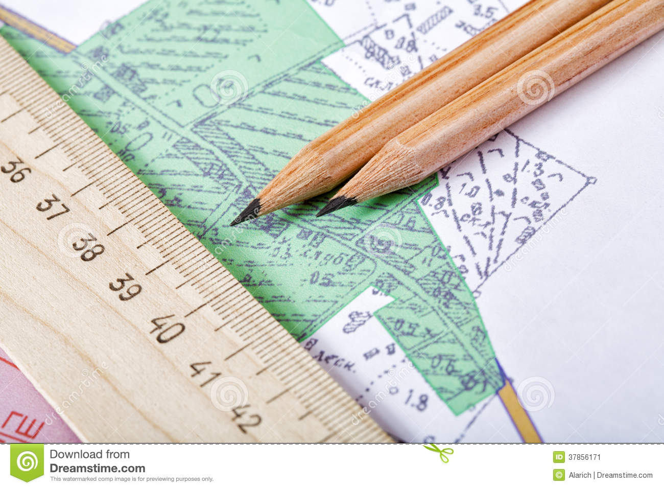 topographic map and pencils stock image image