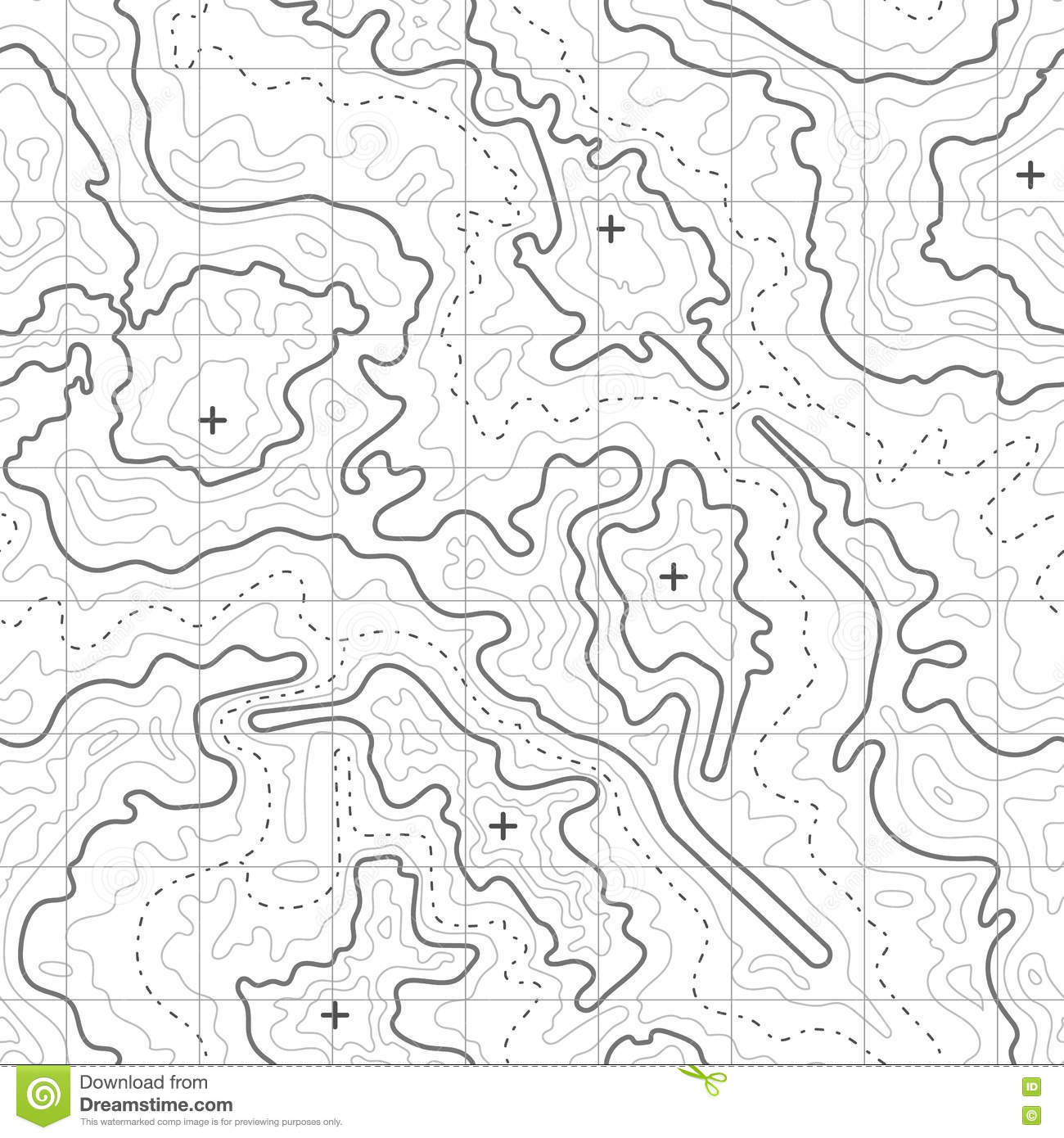 Topographic Map Vector Background With Mountain Texture And Grid Diagram Of Mountai