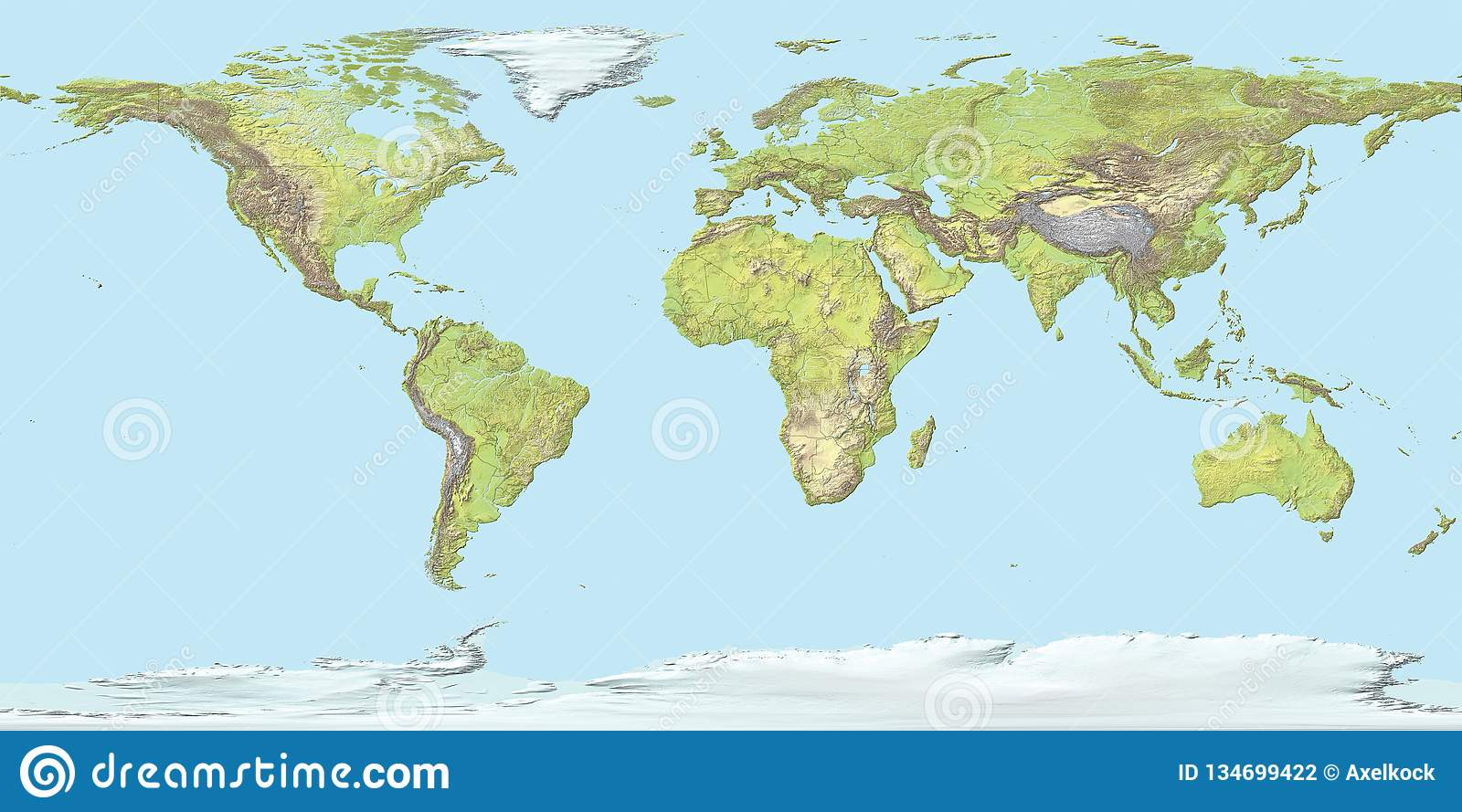 Topographic Map Of The World With Borders, 3D Render Stock ...