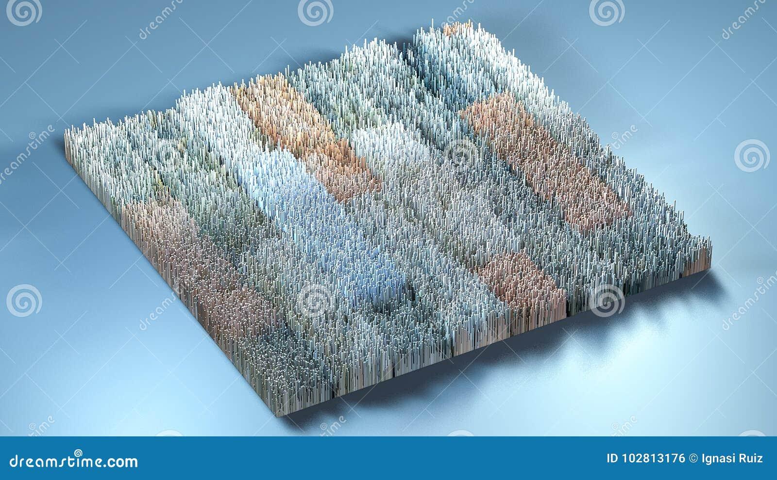 Topographie du rendu 3d avec des cubes