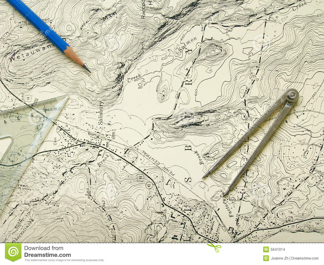 Topographic Map Of A Mountain.Topography Map With Pencil Stock Photo Image Of Country 5641014