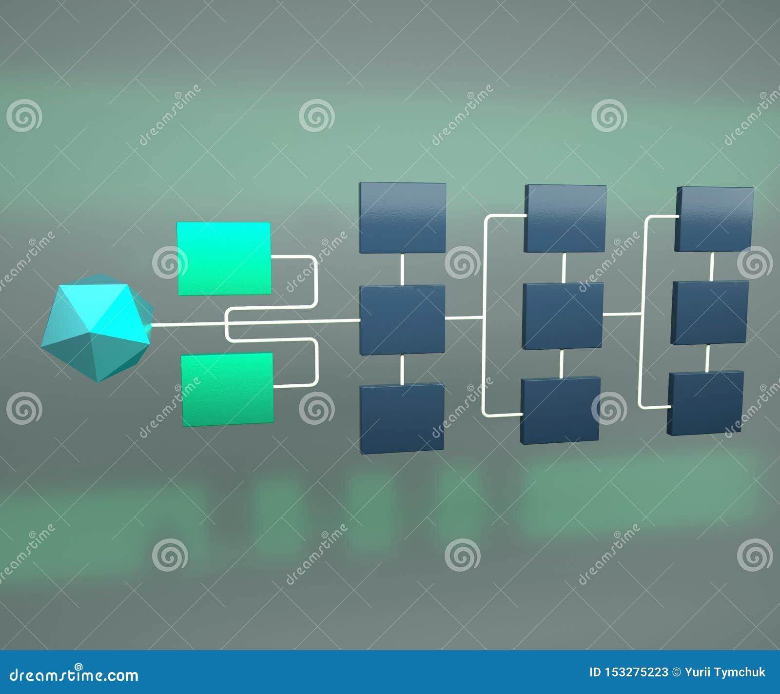 Topologie de réseau d affaires 3d rendre Concept de hiérarchie de réseau