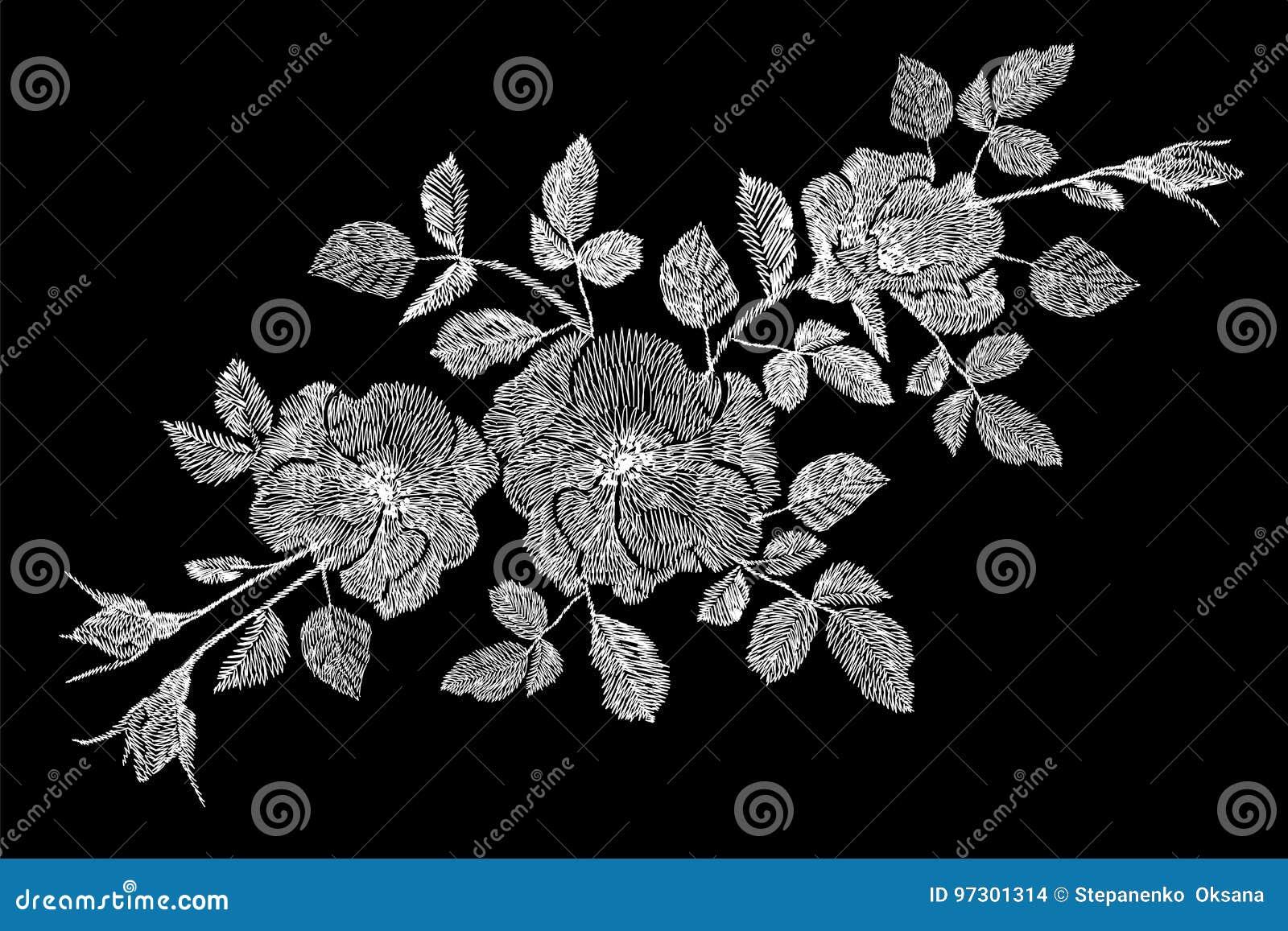 Toppa di rovo della rosa canina del wildflower della rosa di bianco del fiore del ricamo Adatti la decorazione dell ornamento del