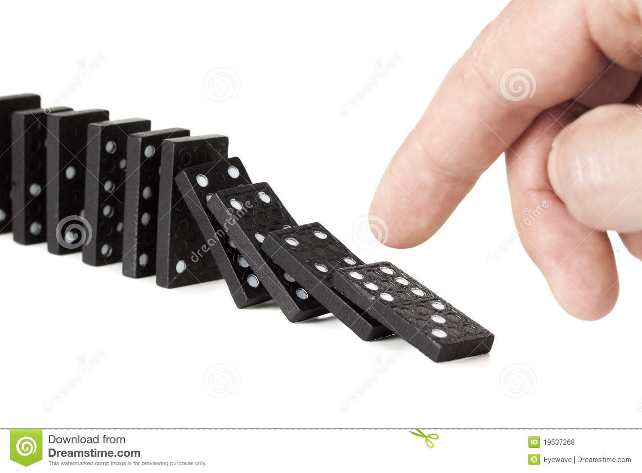 Toppling a row of domino pieces royalty free stock photos image 19537268 for Piece de theatre domino