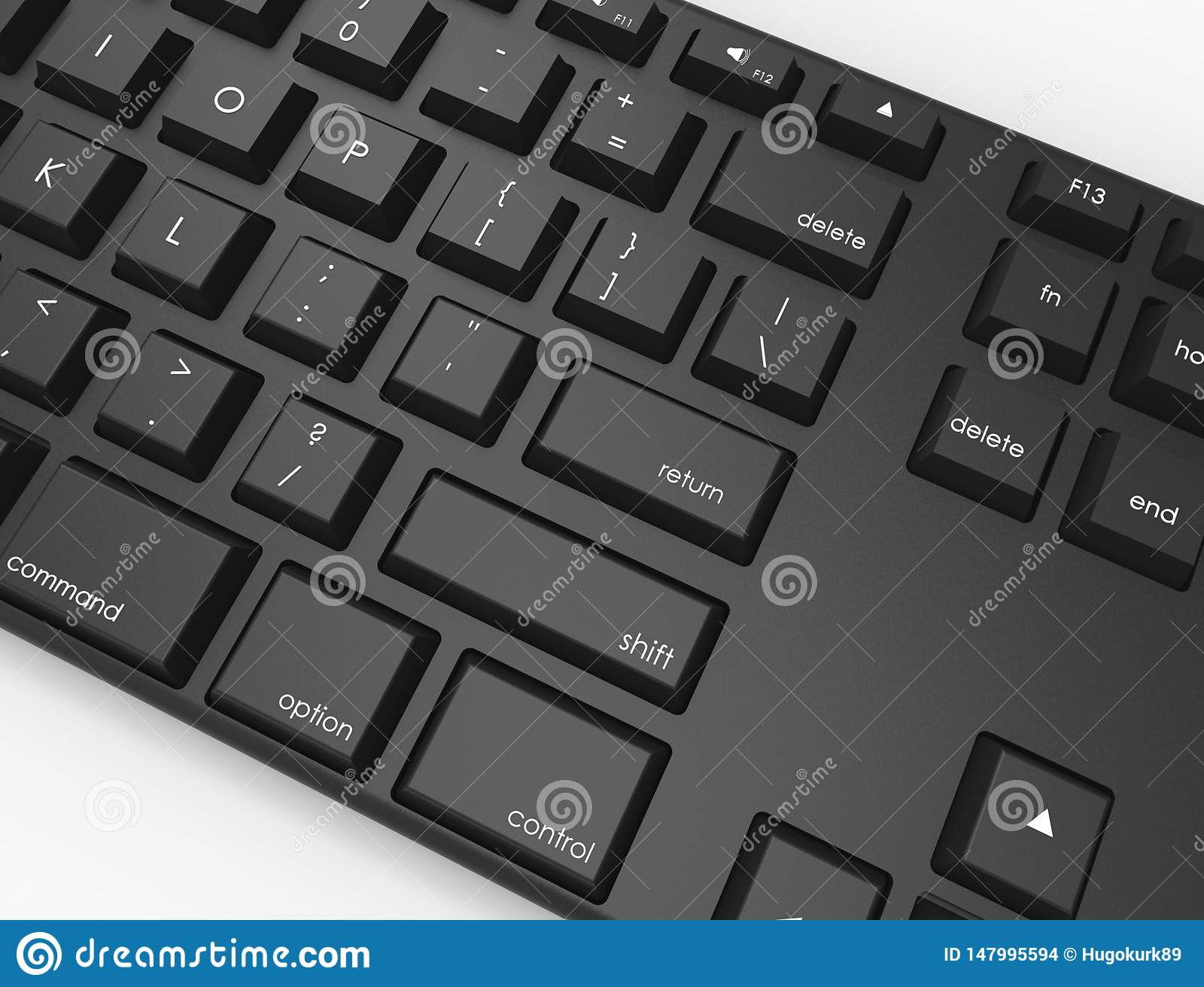 Topview del ejemplo de la representaci?n 3D de un teclado Qwerty negro