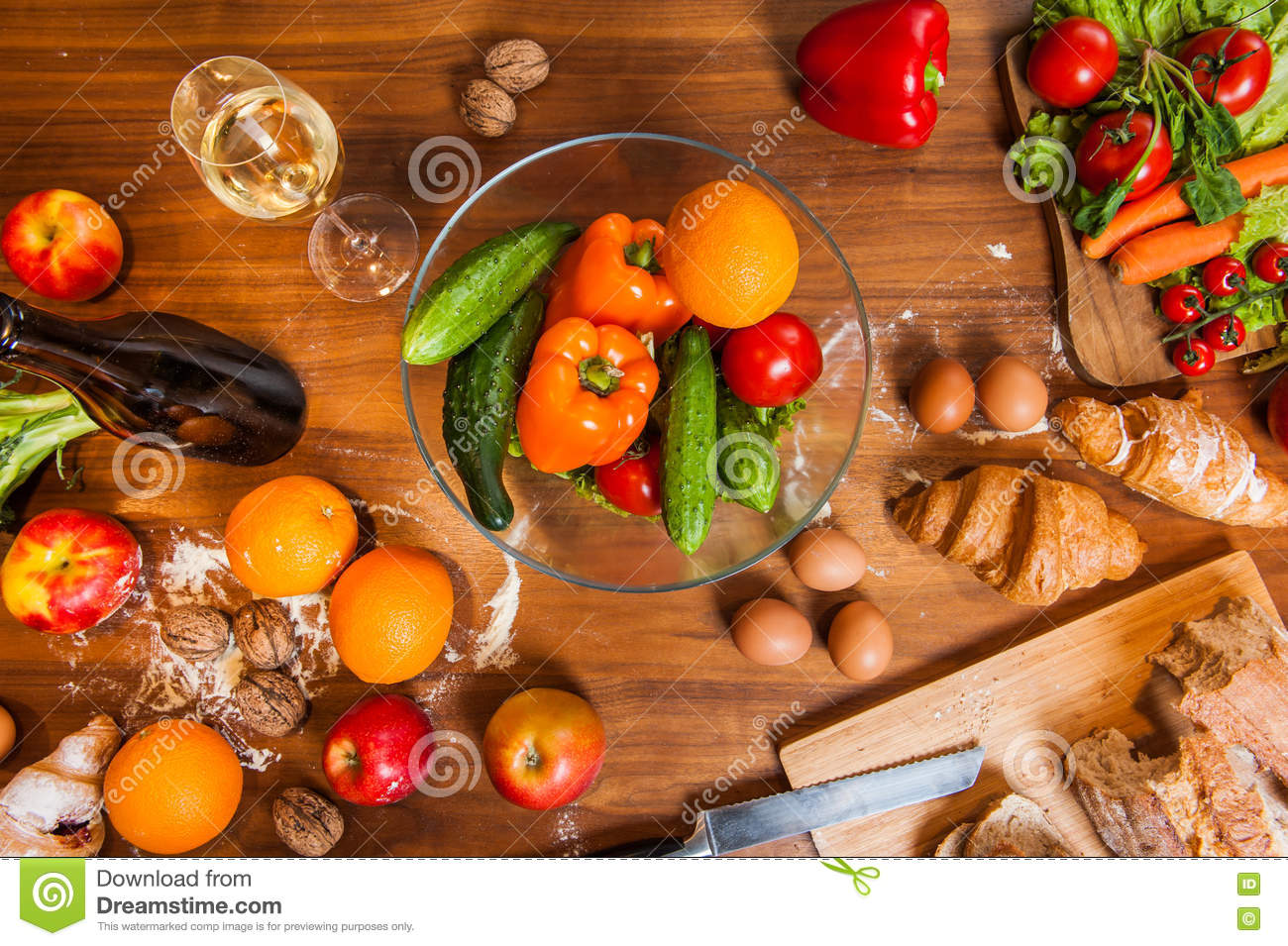 Wooden Food Table ~ Topview of fruits and vegetables on wooden kitchen table