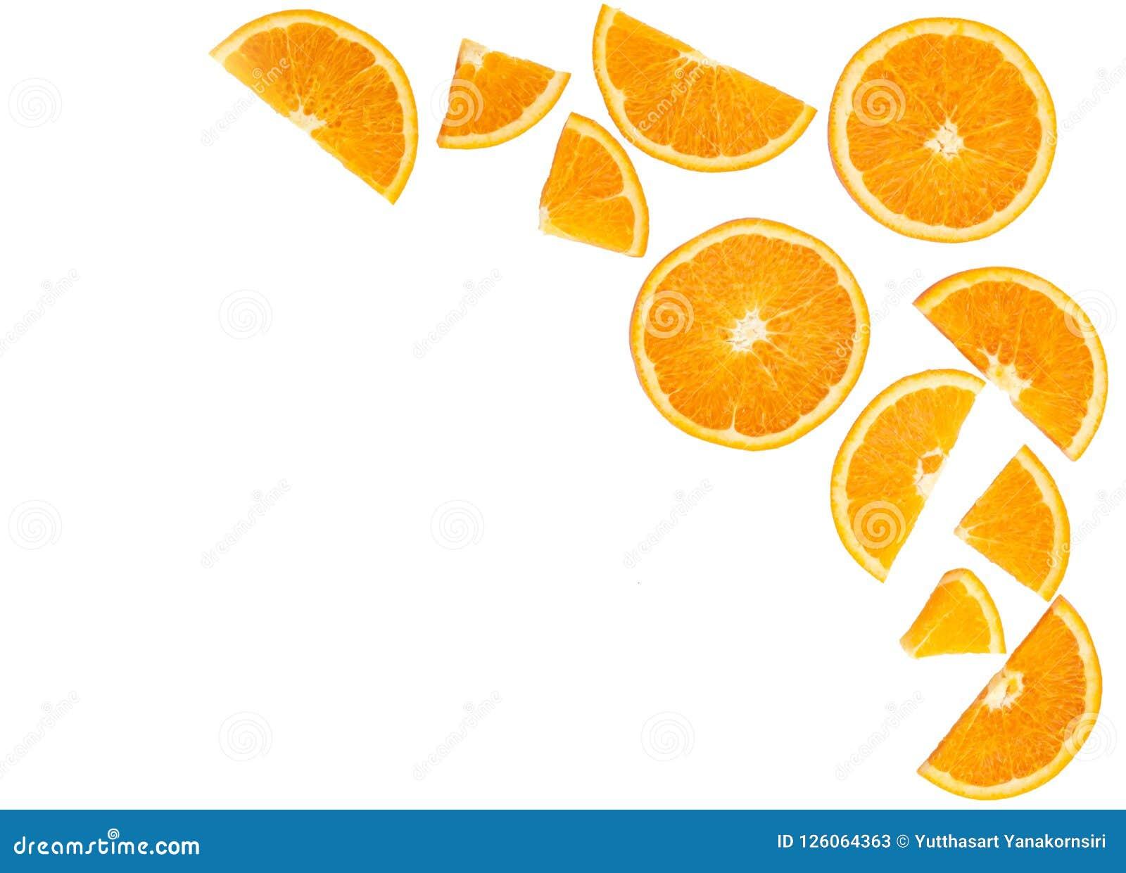 Topview pomarańczowy owocowy plasterek odizolowywający na białym tle, owoc on