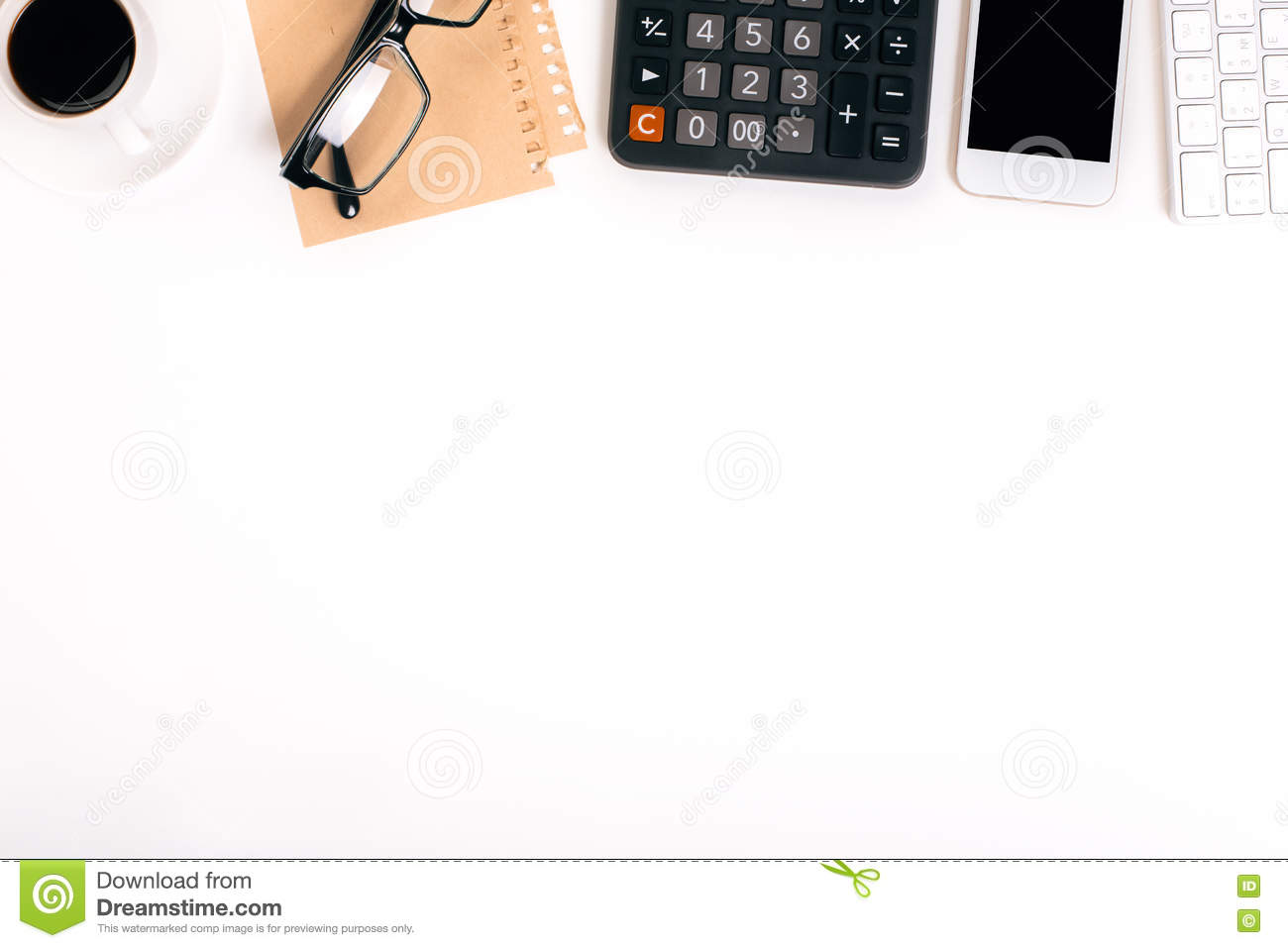 Topview Of White Office Desk Stock Image Image 72567485