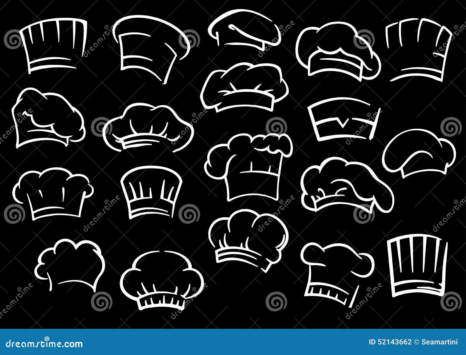 Toques o cappelli tradizionali del cuoco unico nello stile di schizzo del  profilo isolati su fondo nero adatto per progettazione del menu del caffè o  del ... 4d76a481f0ef