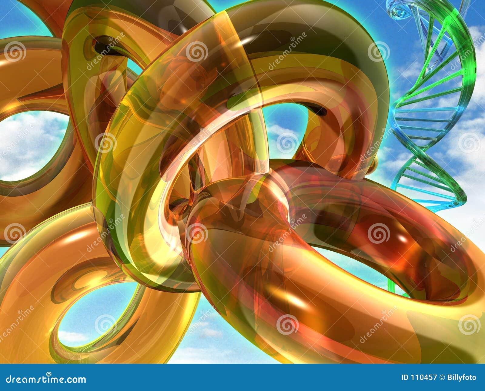 Toróides amarelos e corda do ADN