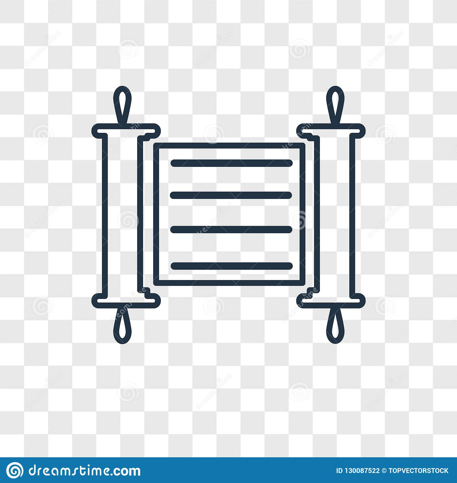 Torah concept vector linear icon isolated on transparent background, Torah concept transparency logo in outline style