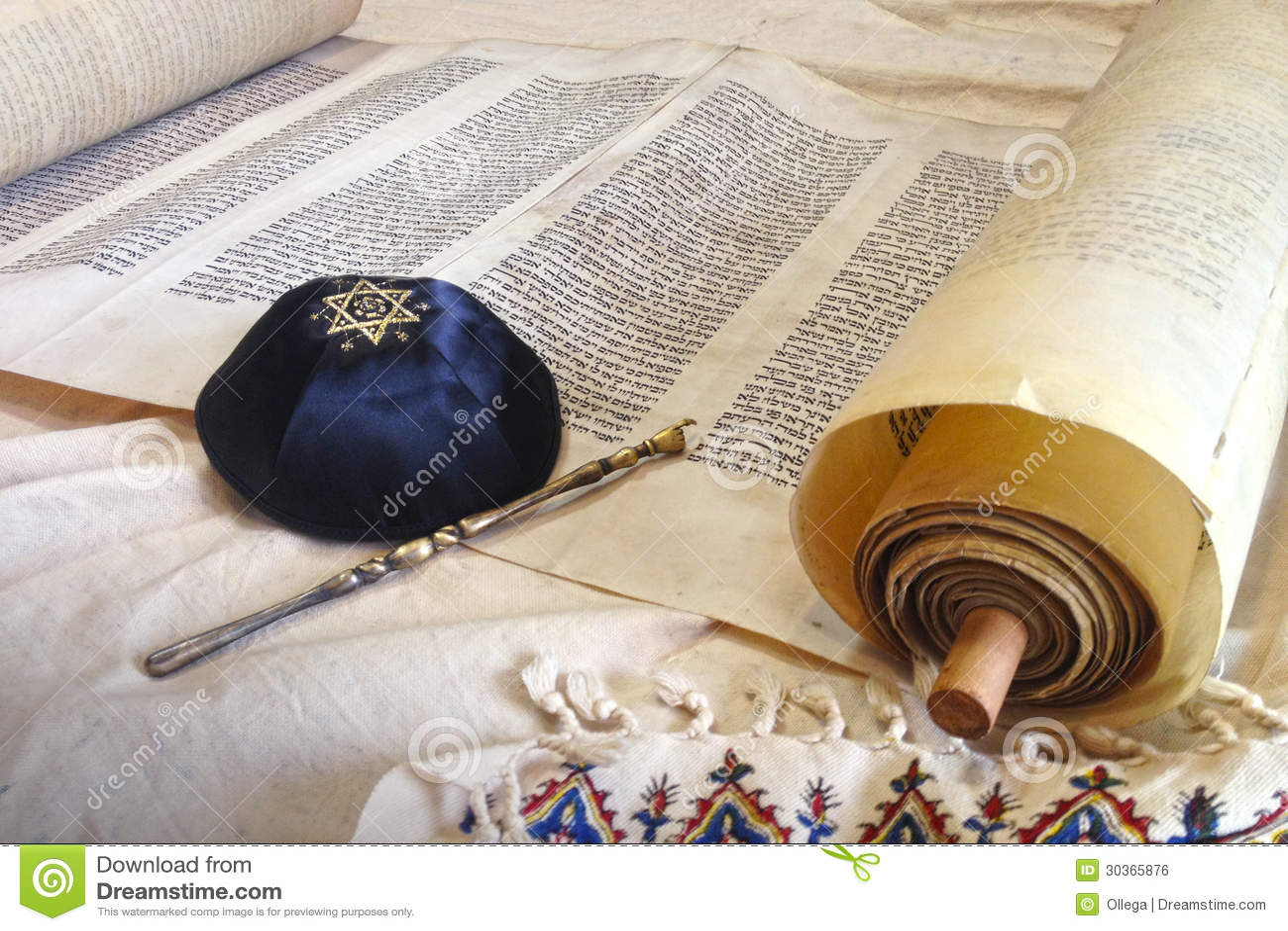 Torah scroll with Kippah