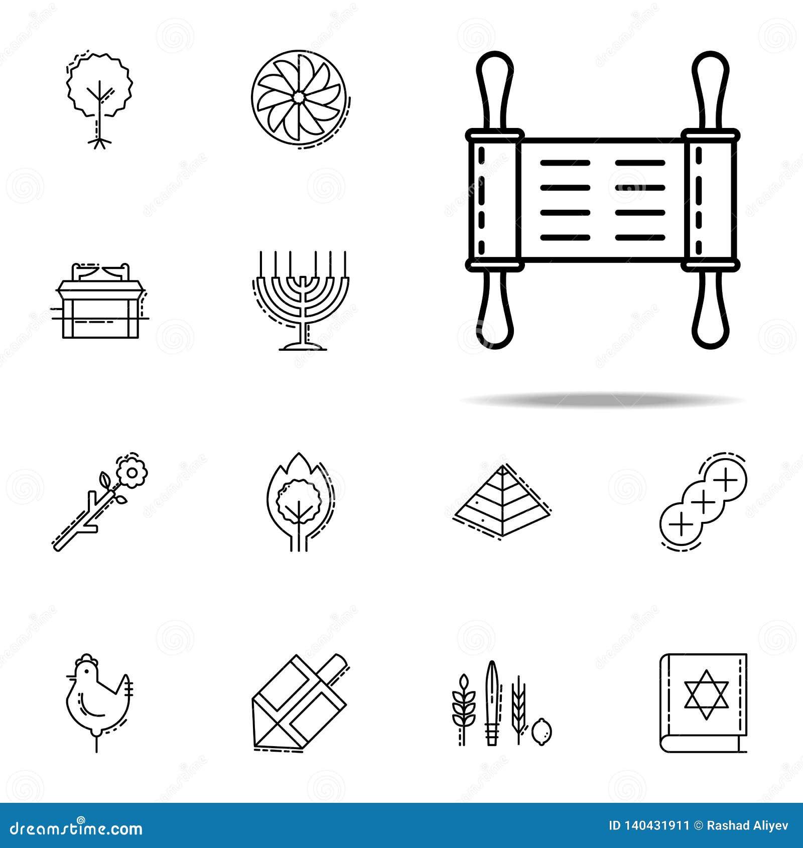 Torah symbol Universell uppsättning för judendomsymboler för rengöringsduk och mobil