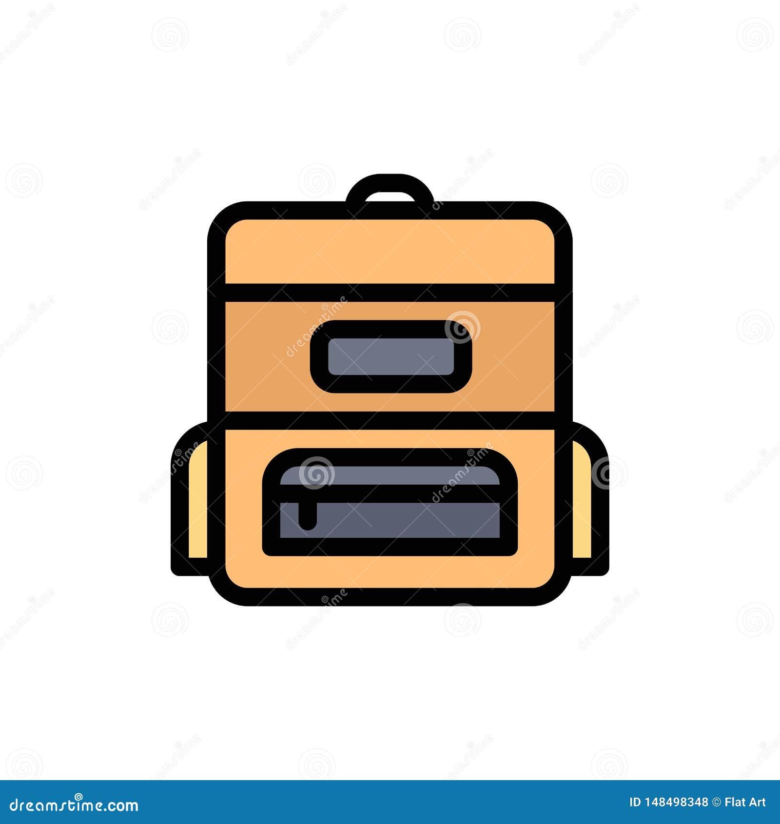 Torba, edukacja, Schoolbag koloru Płaska ikona Wektorowy ikona sztandaru szablon