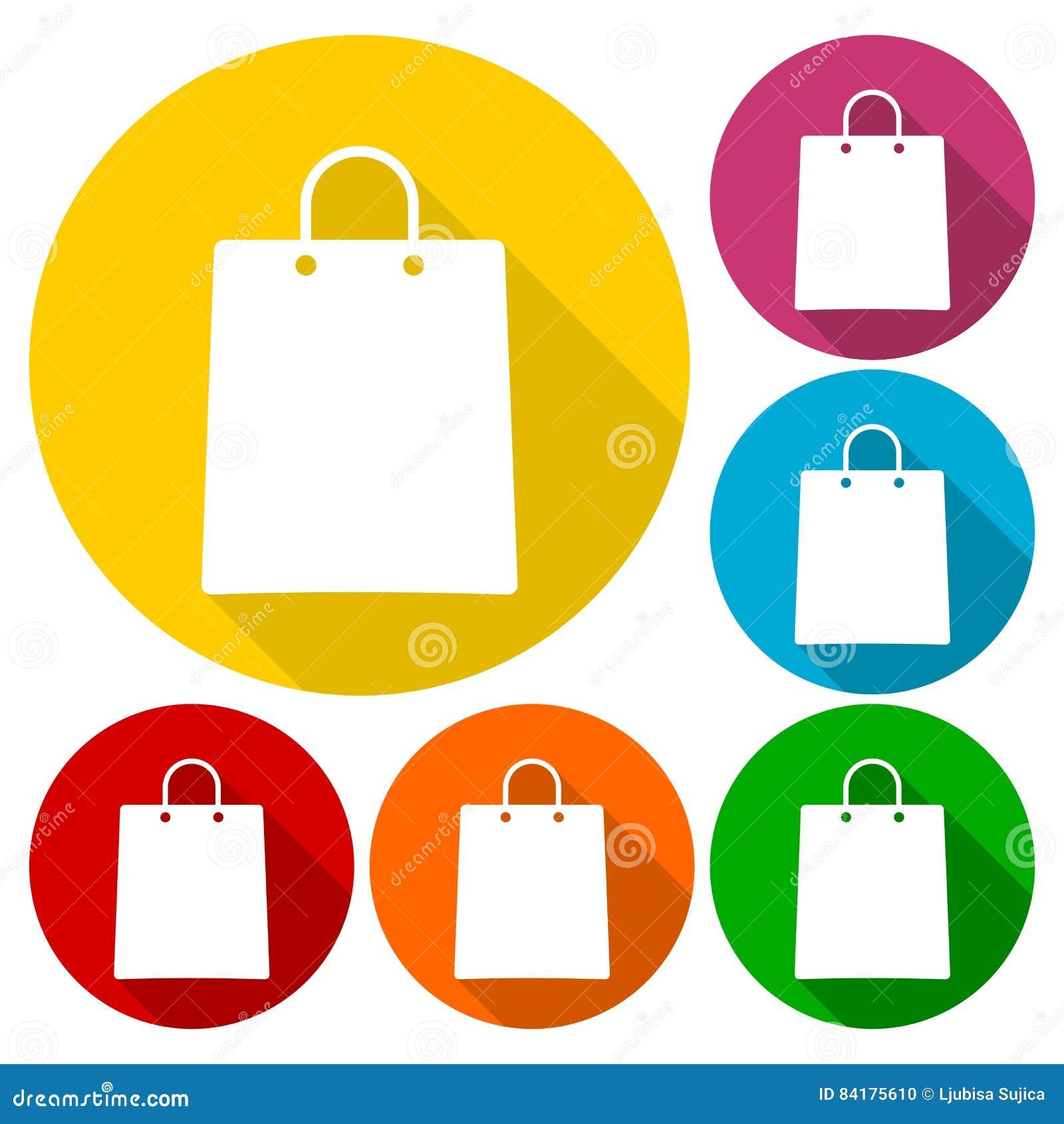 Torba na zakupy ikony ustawiać z długim cieniem