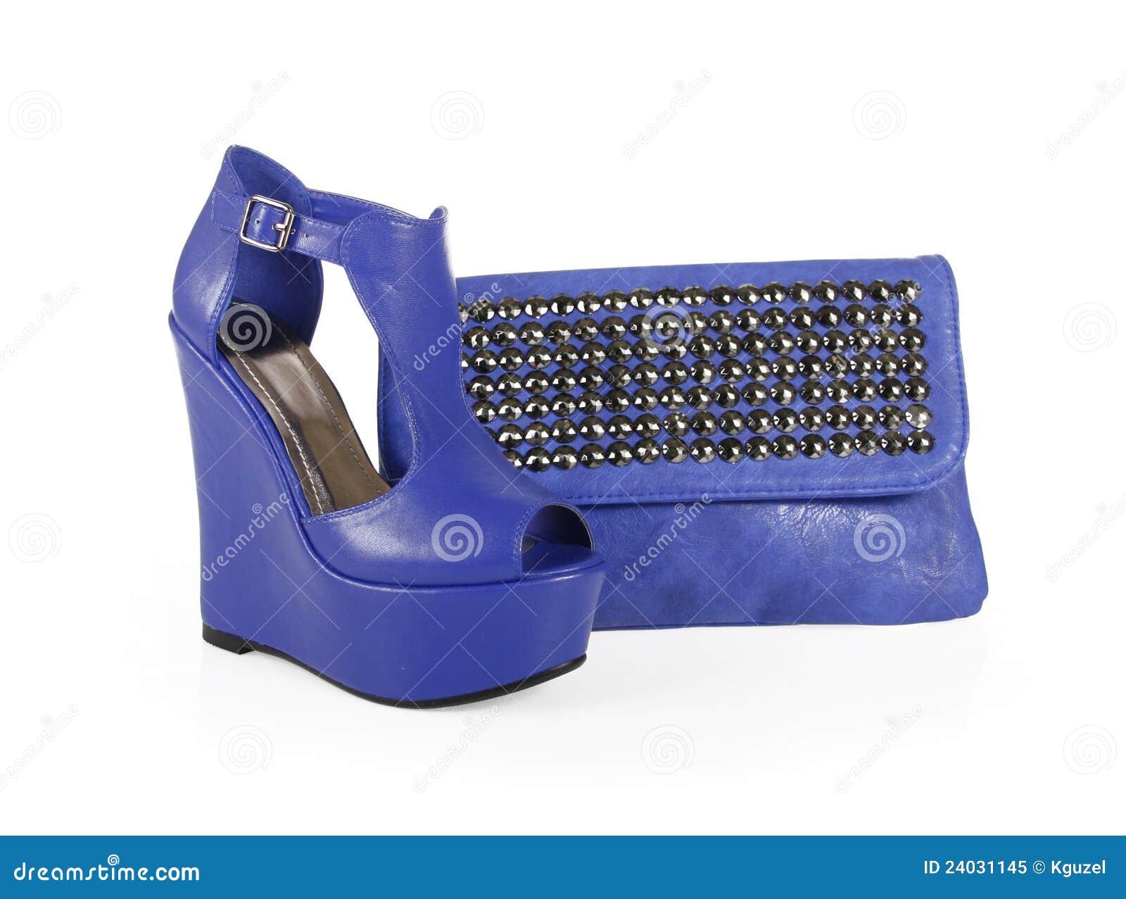 Torby błękitny buty gwożdżący klin