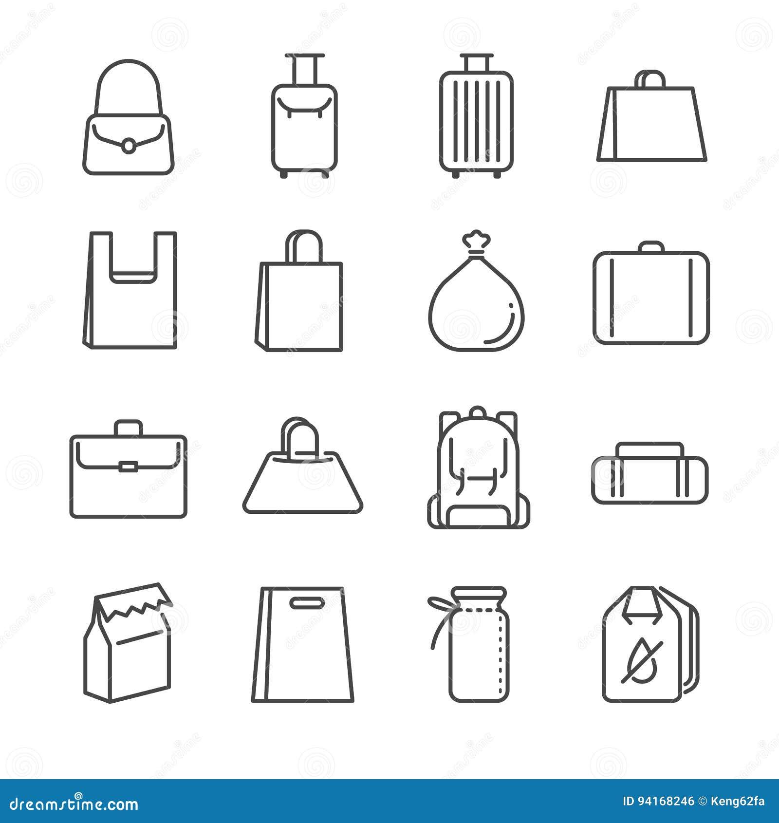 6abfa42cb1f6f Kreskowa projekt ikony ilustracja: Torby ikony kreskowy set Zawrzeć ikony  jako plastikowy worek, walizka, bagaż, bagaż i więcej,