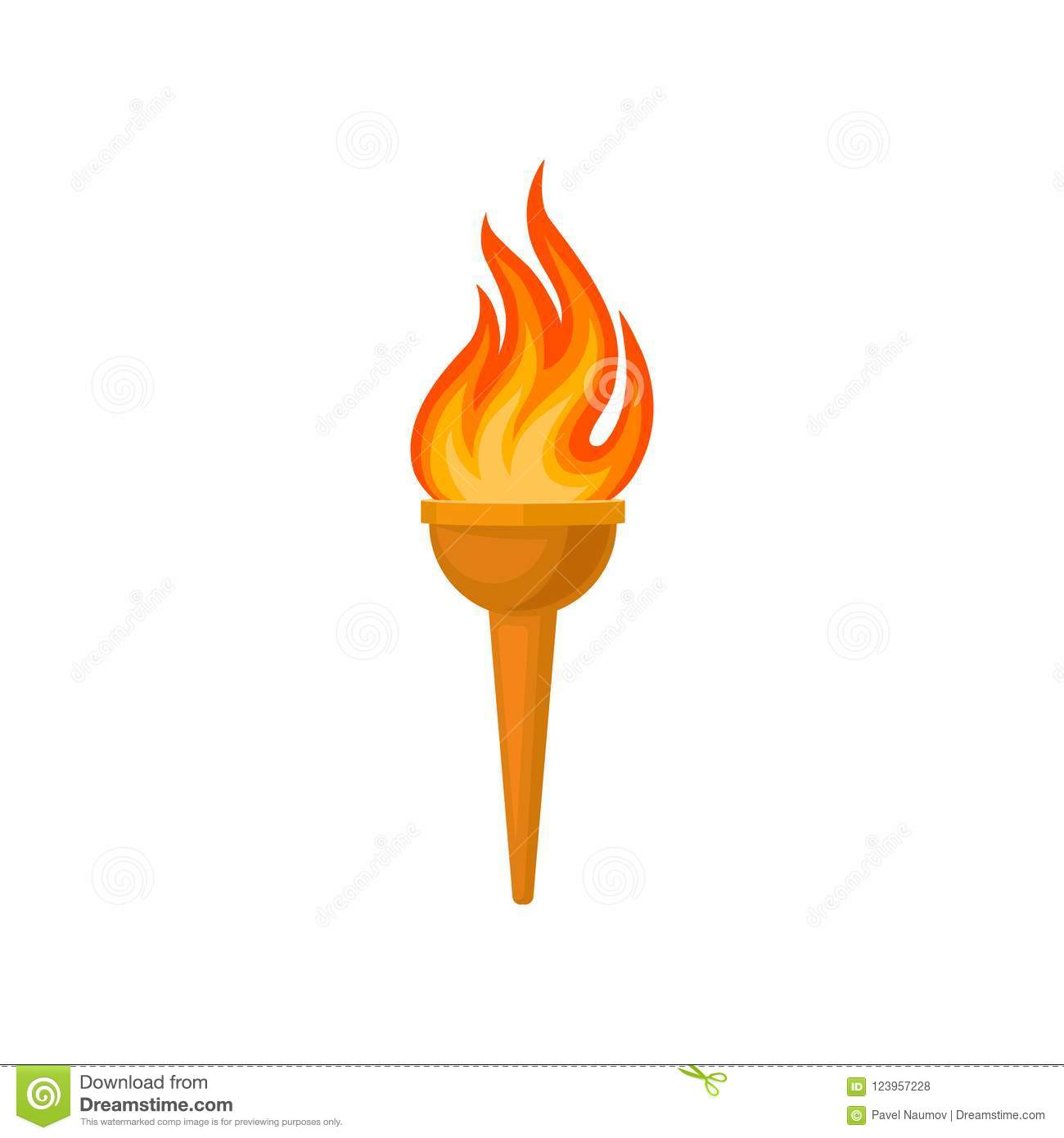 Torch With Flame Vector Illustration On A White Background Stock Vector Illustration Of Achievement Game 123957228