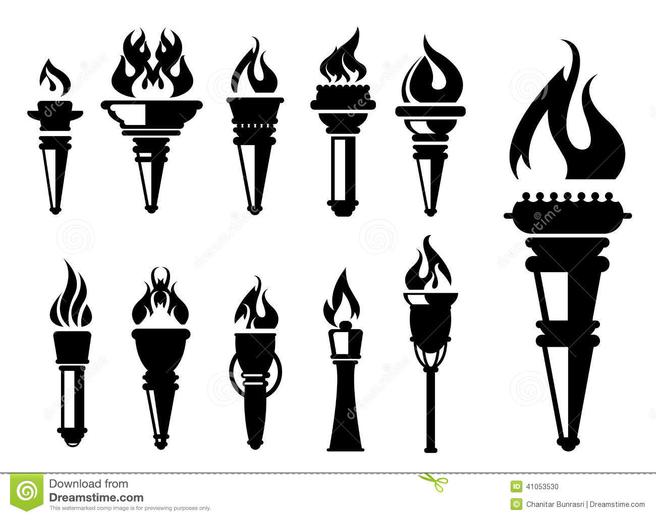 Torch Icons Set Stock Vector Illustration Of Black Ancient