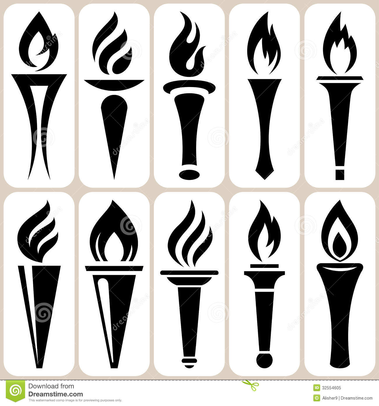 Torch Icons Set Royalty Free Stock Photo - Image: 32554605