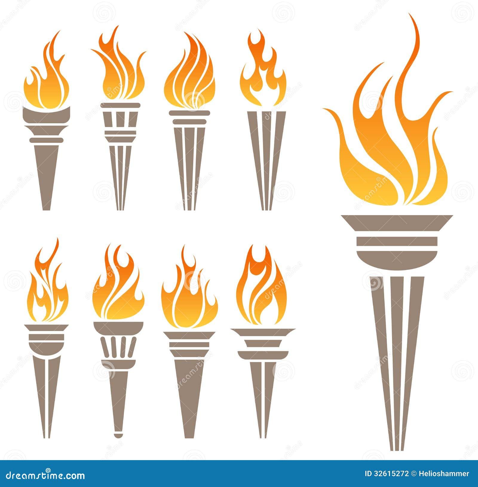 Torch symbol set stock vector. Illustration of race ...