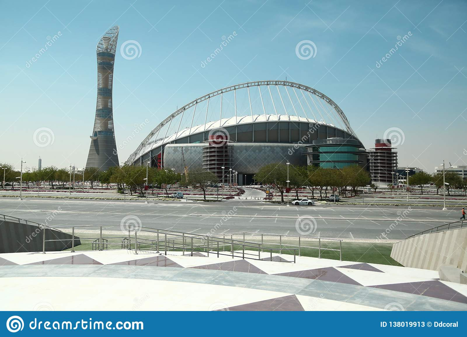 Torch tower and Khalifa international stadium in Aspire Zone, Doha, Qatar