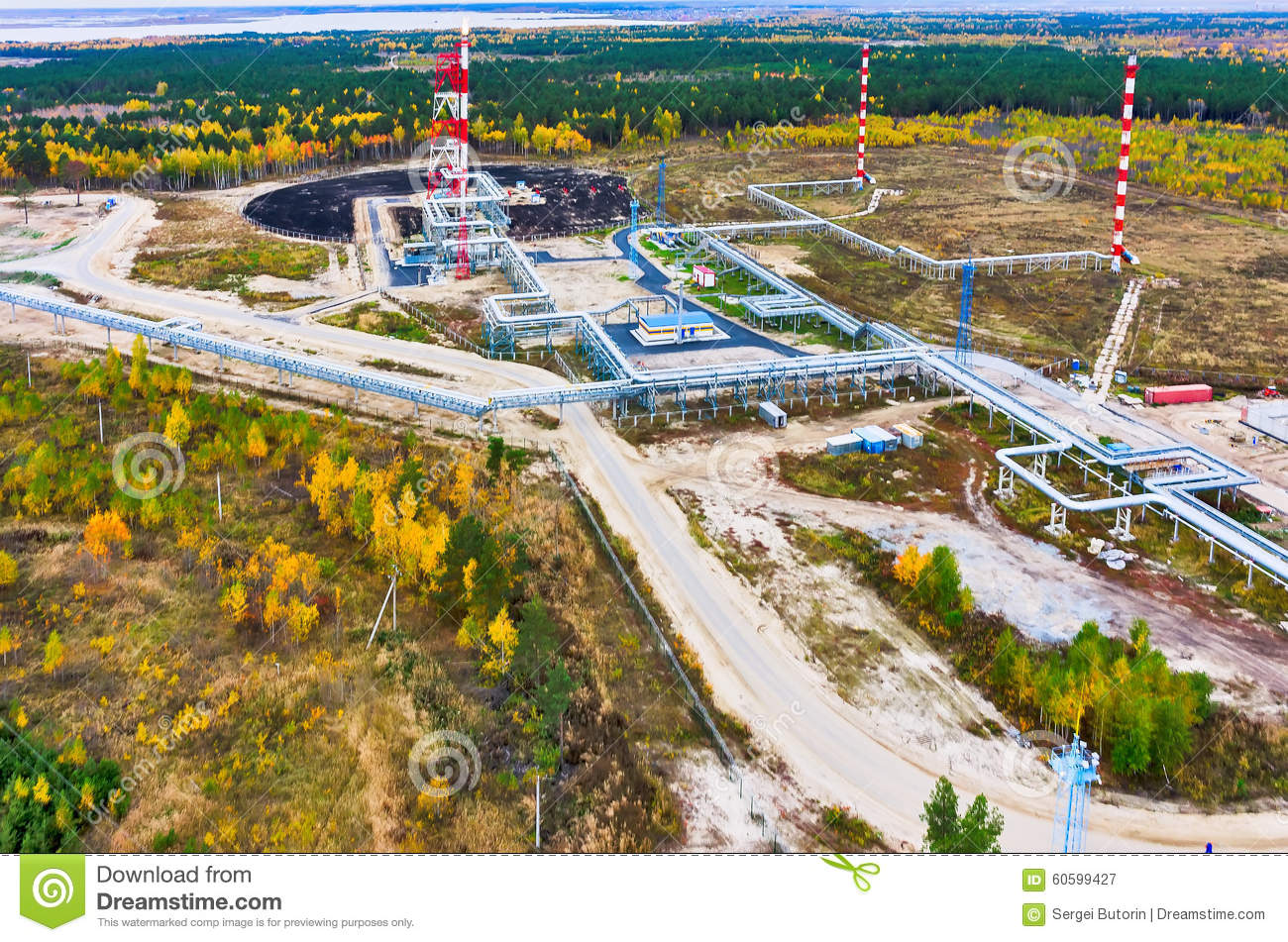 Tyumen Russia  City pictures : Tyumen, Russia September 25, 2015: Bird eye view onto torches for ...